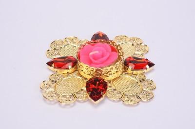Shrisay Ventures Diwali Flower Shape Red stone Purple Steel Table Diya