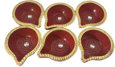 Craft Art India Beautiful Handcrafted Decorative Dipawali / Diwali Red And Golden Colour Tealight / Oil Lamps For Pooja / Puja - Set Of 12 Terracotta Table Diya Set