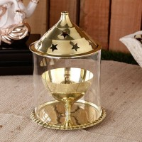 Being Nawab Golden Akhand Brass, Glass Table Diya(Height: 8 inch)
