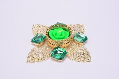 Shrisay Ventures Diwali Cut Leaf Shape Green Stone Steel Table Diya
