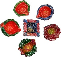 DakshCraft Exquisite Hand Crafted Decorative Diwali Diya Terracotta Table Diya Set(Height: 1 inch, Pack of 6)