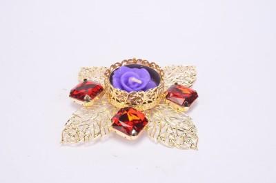 Shrisay Ventures Diwali Cut Leaf Shape Red Stone Blue Steel Table Diya