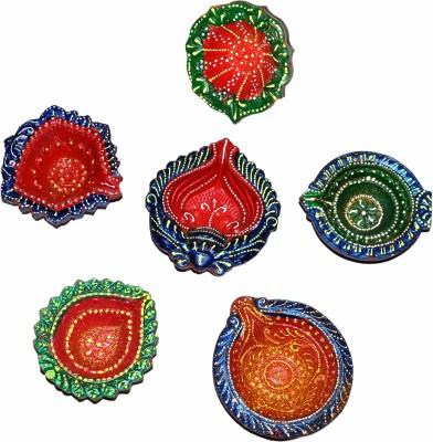 Dakshcraft Indian Tadtional Multicolor Diwali Terracotta Table Diya Set