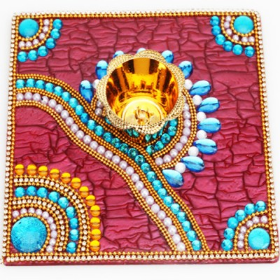 Ghasitaram Gifts Ghasitaram Traditional Light Diya Tray (Multicolour,Square) Microfibre Table Diya