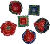DakshCraft Colorful designes of Decorative Diwali Diya Terracotta Table Diya Set(Height: 1 inch, Pack of 6)