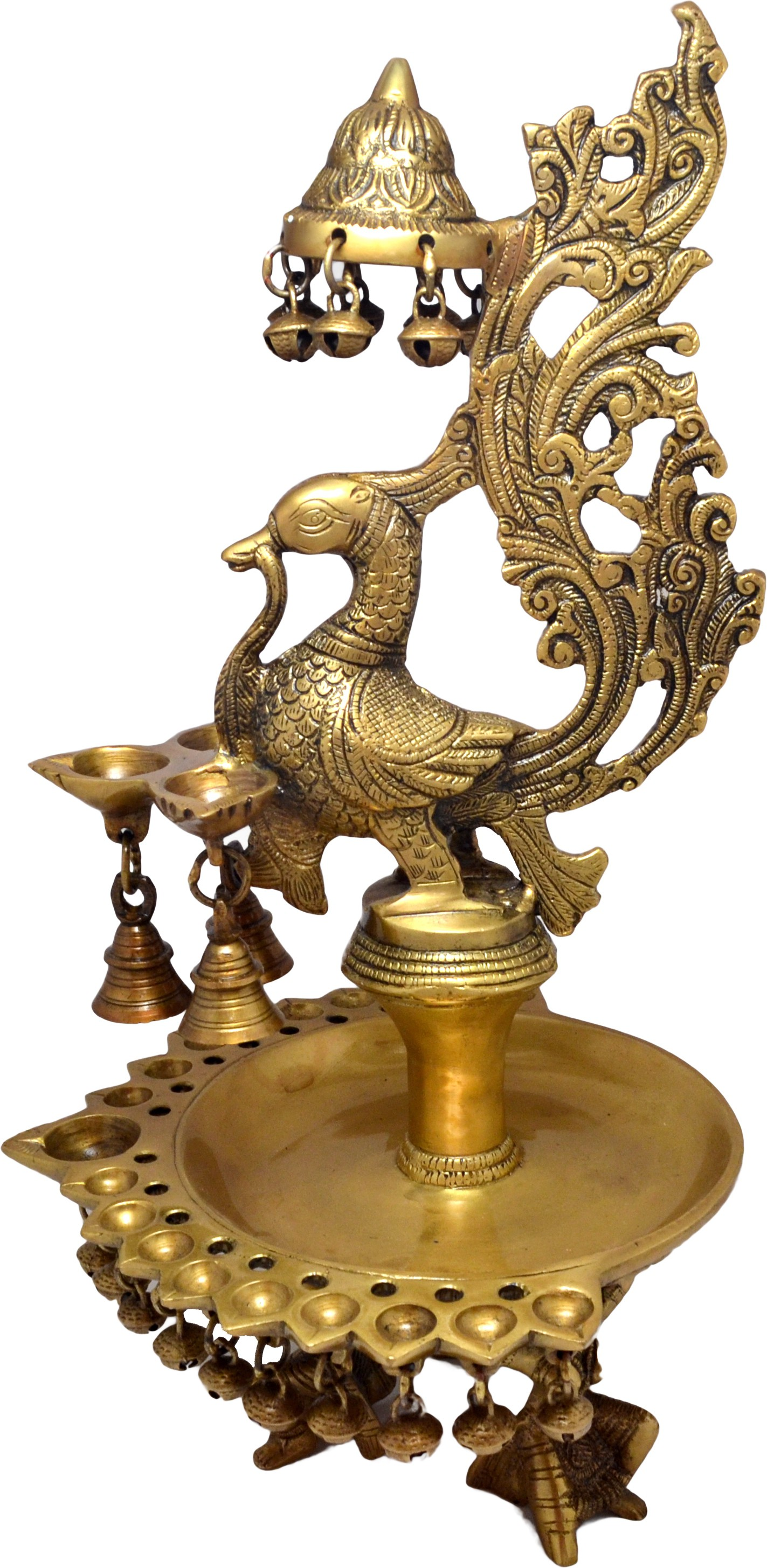 Handecor Peacock Design Oil Lamp Held by 3 Ladies Brass Table Diya(Height: 16 inch)