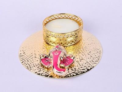 Shrisay Ventures Diwali Round Shape Ganesh Pink Steel Table Diya