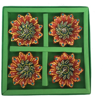 Craft Art India Handmade Flower Design Dipawali / Diwali Tealight / Oil Lamps For Pooja / Puja Terracotta Table Diya Set