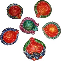 DakshCraft Hand Crafted Colorful Decorative Diwali Terracotta Table Diya Set(Height: 1 inch, Pack of 6)