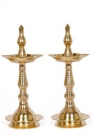 VISHNU Brass Table Diya Set(Height: 10 inch, Pack of 2)