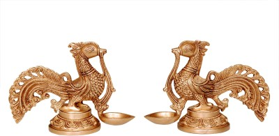 Swethamber Arts Antique Finish Peacock Diyas Set Of 2 :: 3.2kgs :: 6inches Brass, Bronze Table Diya Set