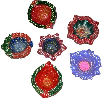Dakshcraft Colorful Decorative Diwali for Celeberation Terracotta Table Diya Set