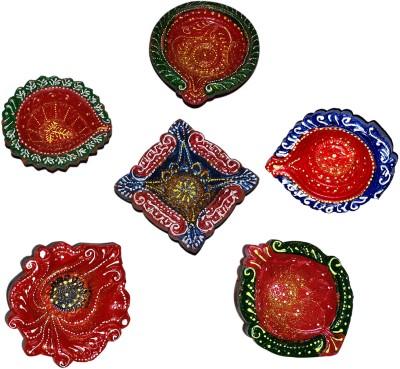 Dakshcraft Handmade Colorful Elegant Decorative Terracotta Table Diya Set