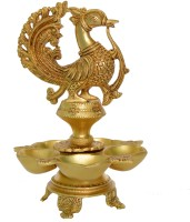 Aakrati Designer Decorative Peacock Decorative Oil Lamp Brass Table Diya(Height: 11.6 inch)
