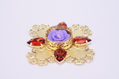 Shrisay Ventures Diwali Flower Shape Red stone Blue Steel Table Diya