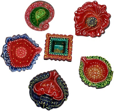 Dakshcraft Bright Multicolors Hand Printed Decorative Diwali Terracotta Table Diya Set