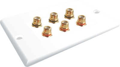 MX 6 SOCKET RCA FEMALE WALL PLATE FACEPLATE Dock(White)