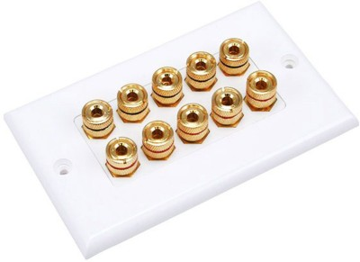 MX 8 SOCKET BANANA PLUG BINDING POST FEMALE Speaker Cable WALL PLATE FACEPLATE (114 X 70 mm) Dock(White)