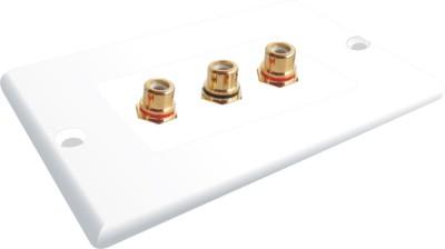 MX 3 SOCKET RCA FEMALE WALL PLATE FACEPLATE Dock(White)