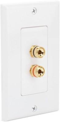 MX 2 SOCKET BANANA BINDING POST FEMALE Speaker Cable WALL PLATE FACEPLATE (114 X 70 mm) Dock(White)