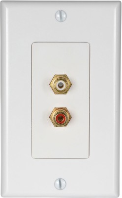 MX 2 SOCKET RCA FEMALE WALL PLATE FACEPLATE (114 X 70 mm) Dock(White)