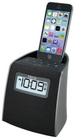 iHome iPL22 Stereo FM Clock Radio with Lightning Charge/Play support Dock(Black)