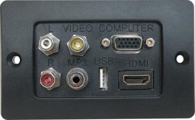 MX HDMI VGA USB 3.5mm Stereo Jack & Composite 3 RCA Audio Video Wall plate Face plates 1080p Dock(Black)