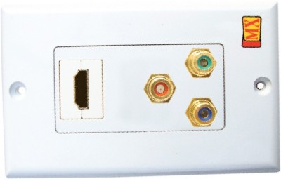 MX HDMI & Composite 3 RCA Audio Video Wall plate Face plates 1080p Full HD Dock(White)