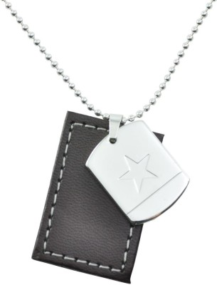 Hip Hop US Military Star ID HH_NK_UMS-1 Engraved Silver, Brown Dog Tag