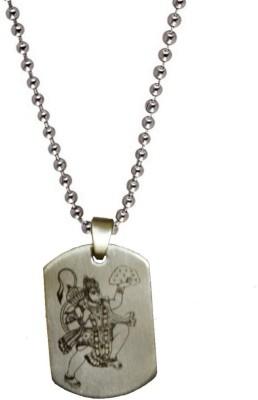 Men Style Jai Hanuman Plated Engraved Silver Dog Tag