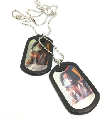 Ammvi Creations Rastaferraian Graphic AMV-DG8899004 Embossed Black Dog Tag