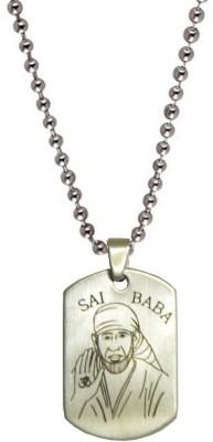 Men Style Shirdi Sai Baba plated Engraved Silver Dog Tag