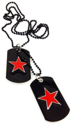Ammvi Creations The Vitruvian Embossed Black, Red Dog Tag