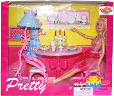 Venus-Planet of Toys Pretty Glam Doll W Dining Room(Pink)