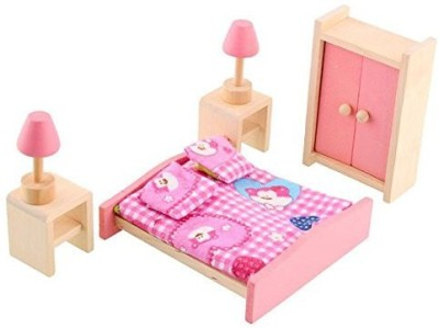 Soledi Wooden Doll Bedroom House Furniture Wardrob Bed Room Dollhouse Miniature Set For Kids Children Child Play Toy Gift(Multicolor)