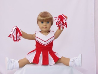 American Fashion World Doll Clothes -Red and White Doll Cheerleader Outfit includes Pom Poms- Fits 18