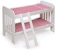 Badger Basket Basket Doll Bunk Bed with Ladder - Chevron Print Toy, White/Pink(Pink)