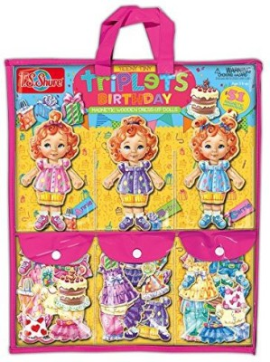 T.S. Shure Teeny Tiny Triplets Birthday Wooden Magnetic Dressup