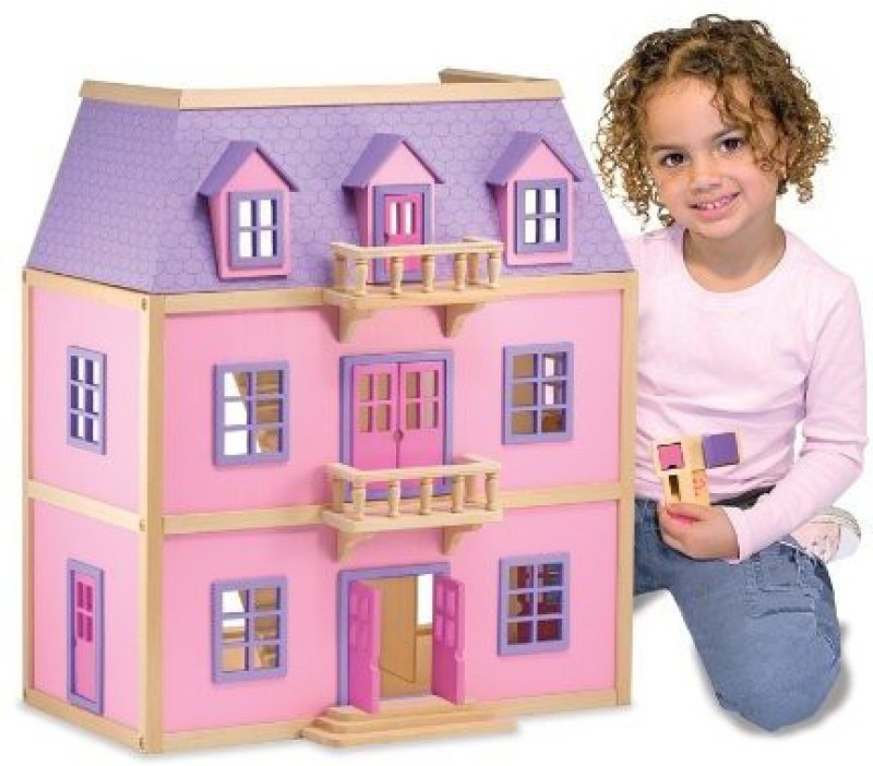 Melissa & Doug Multi-Level Wooden Dollhouse(Multicolor)