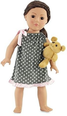 Emily Rose Doll Clothes 18 Inch Clothes Gray Polka Dot Nightgown Fits American(Multicolor)