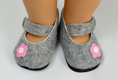 A Dolls Closet Shoes Grey American Mary Jane Fit 18 Inch American Girl(Grey)