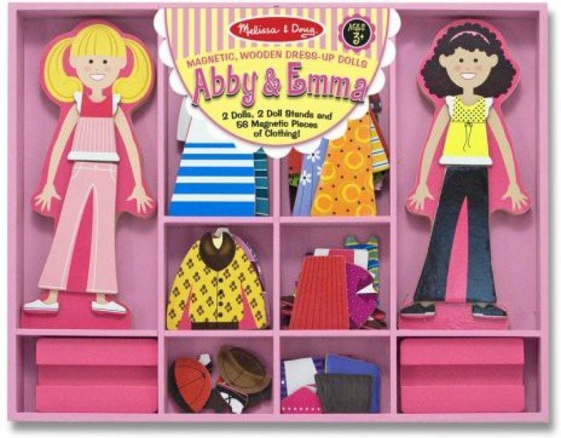 Melissa & Doug Abby & Emma Deluxe Magnetic Dress-Up Set(Multicolor)