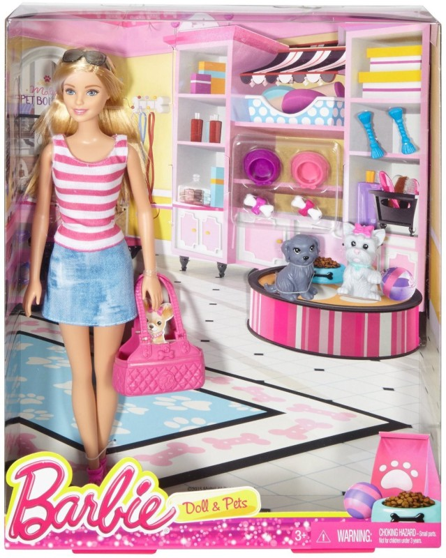 Mattel Barbie Doll and Pets w 2 Puppies Puppy Carry Purse & Accessories Mattel(Multicolor)