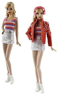 DLKJ178 7in1 Set Fashion Outfit Clothes Jacket+vest+skirt+earflaps+legging+belt+one Pairs Shoes for Barbie Doll(Pink)