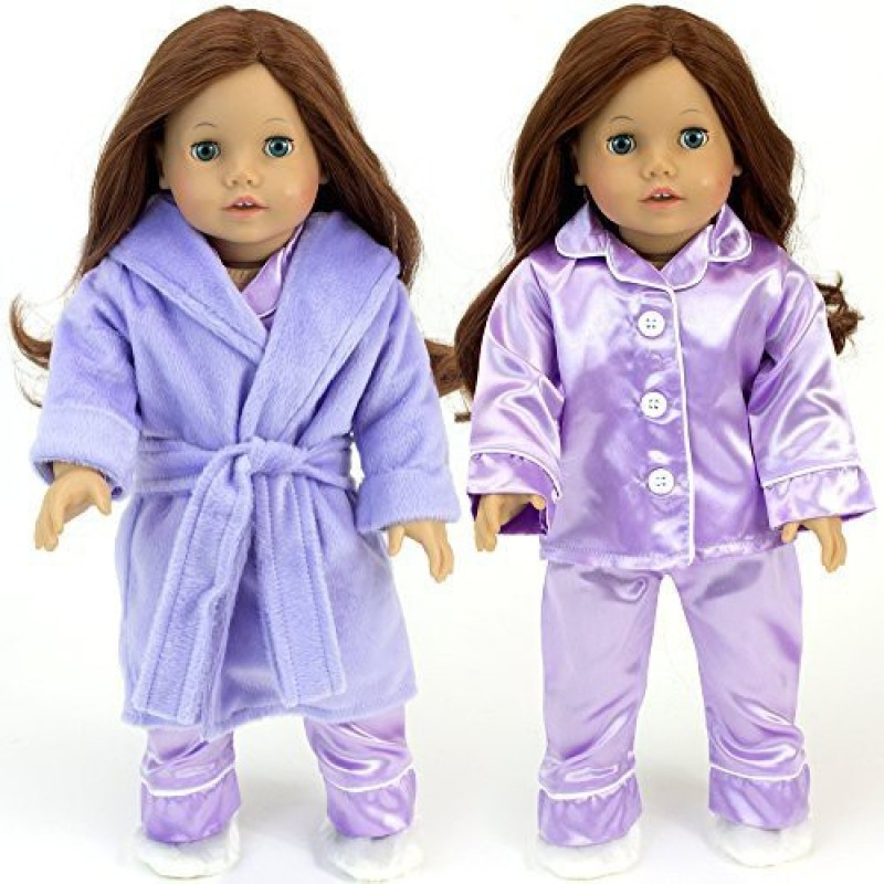 Sophia's Purple Doll Pajamas & Robe 4pc. Set fits American Girl Dolls 18 Inch Doll Clothing/Clothes Set includes(Multicolor)