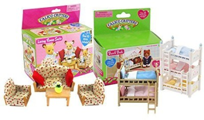 Calico Critters Critters Bunk Beds, Triple Bunk and Living Room Set(Multicolor)