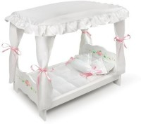 Badger Basket Rose Doll Canopy Bed, White(Multicolor)