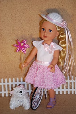 A Dolls Closet Sweet Pink Rose Dress Fits 18 Inches American Girl(Multicolor)