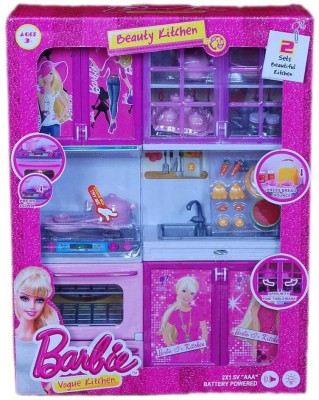 VABA BARBIE BATTERY OPERATED PINK BEAUTY KITCHEN