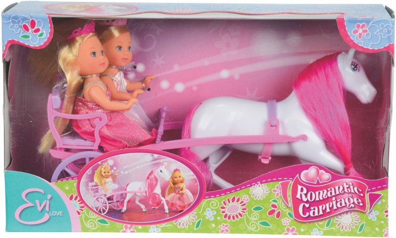 Simba Evi Love Romantic Carriage : Two 12 Cm Doll(Pink)